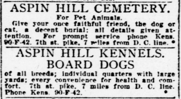 Classified ad for Aspin Hill Cemetery and Kennels, Evening Star newspaper, July 1, 1923