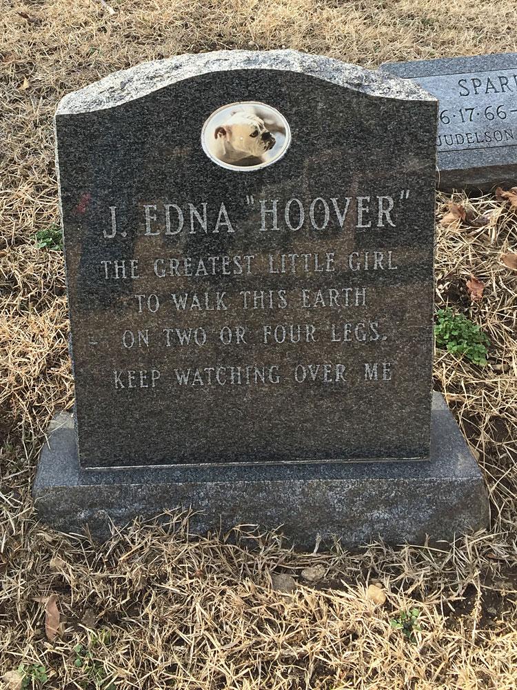 J. Edna Hoover. Hartsdale Pet Cemetery, Hartsdale, New York.