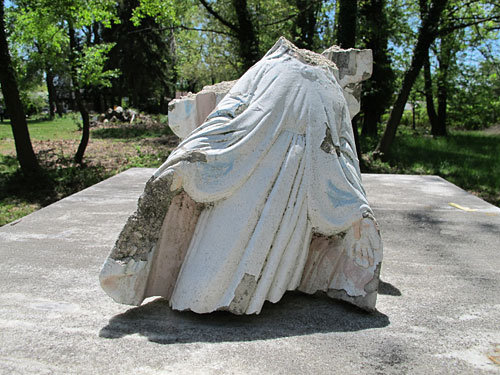 Headless Virgin Mary, on top of the mausoleum (May 2013, Aspin Hill Memorial Park)