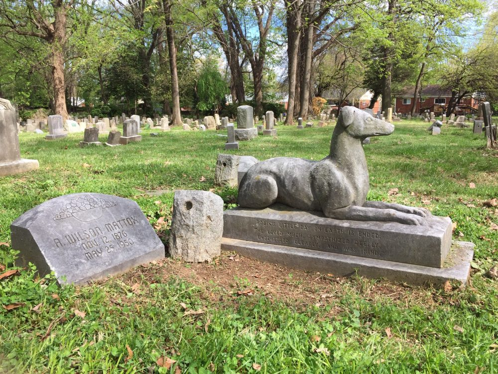The graves of Robin Goodfellow and his owner, A. Wilson Mattox. Mr. Mattox was the first human to be buried at Aspin Hill. (Photograph taken April 2019)