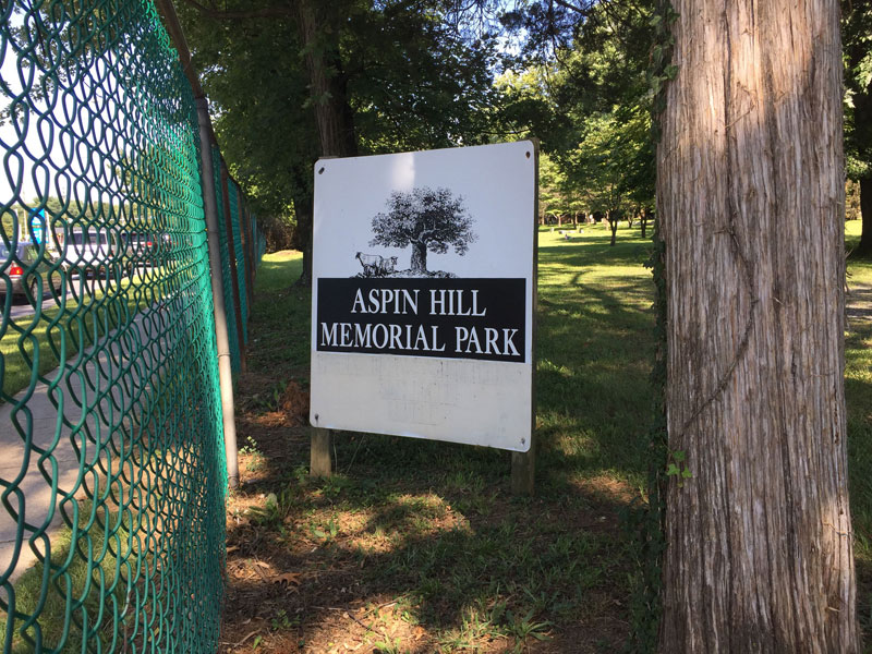 Sign for Aspin Hill Memorial Park.  July 2019