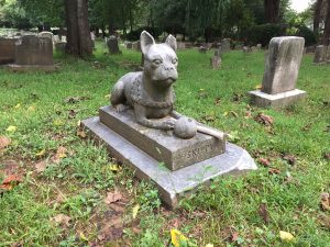 Skippy monument at Aspin Hill Pet Cemetery. Photo by Julianne Mangin, Septemer 2018