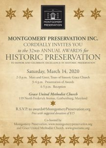 Invitation to Montgomery Preservation Awards for 2019, to be held March 14, 2020.