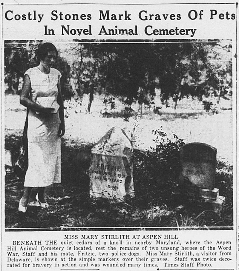 """Costly Stones Mark Graves Of Pets In Novel Animal Cemetery,"" Washington Times, August 14, 1933,"